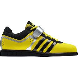 """Sport: Weightlifting. <strong>Adidas</strong> Powerlift 2.0 Shoes in Vivid Yellow/Black,  <a href=""""http://www.adidas.com/us/product/mens-training-powerlift-20-shoes/AU517?cid=G96434&breadcrumb=svZu2Z1z13nzzZ1z13071Z1z11zrf"""">$90</a>"""