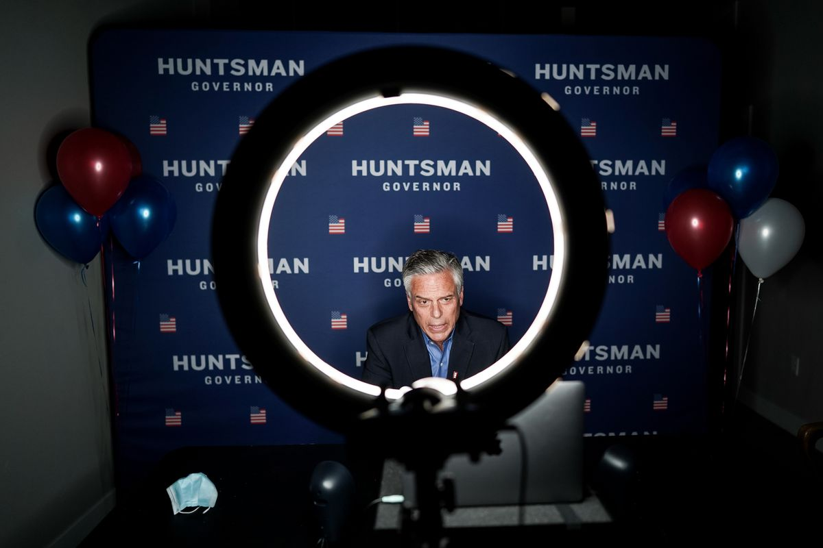 Republican gubernatorial candidate Jon Huntsman Jr. gives a television interview by Zoom at his campaign office in Salt Lake City on Tuesday, June 30, 2020.