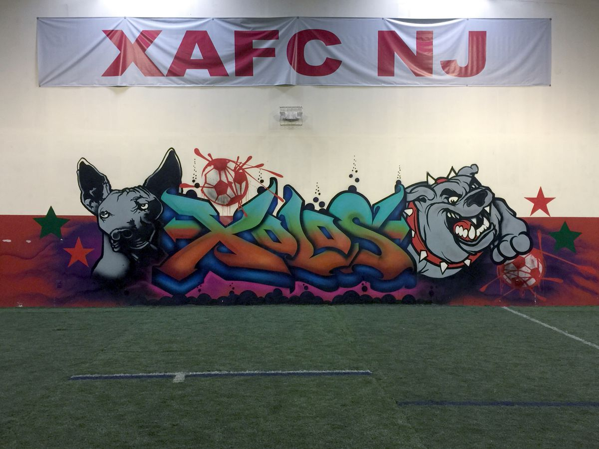 Interior wall of the Xolos Academy FC New Jersey training facility.