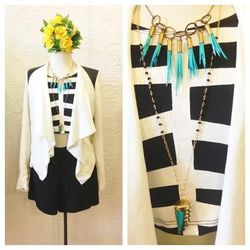 Mary Meyer crop top, $58; BB Dakota Margo Jacket, $92; Nayan Shorts, $69; Sultana Maria statement porcupine quill necklace, $60: Scy Designs turquoise horn necklace, $42.