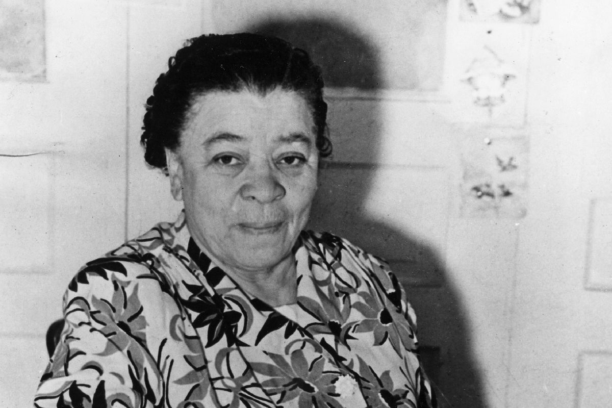 In this 1952 photo, Charlotta Spears Bass, publisher of The California Eagle, a Black newspaper, sits in her Los Angeles office.