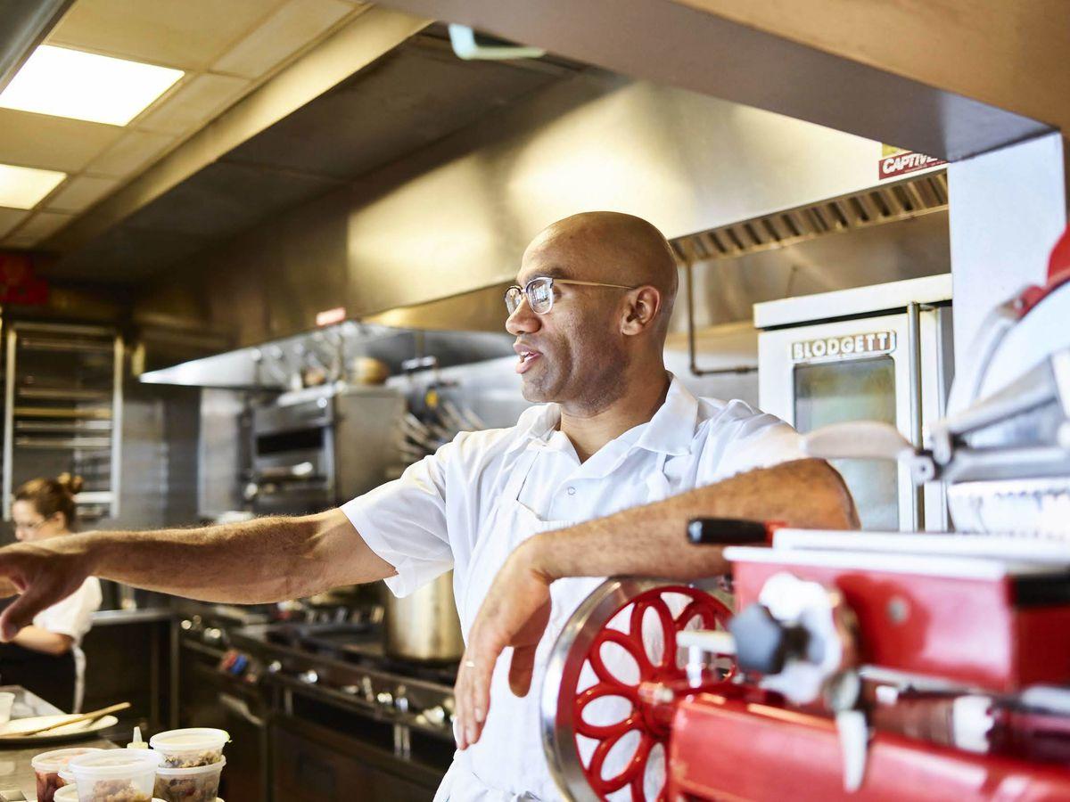Portrait of a chef in a restaurant kitchen