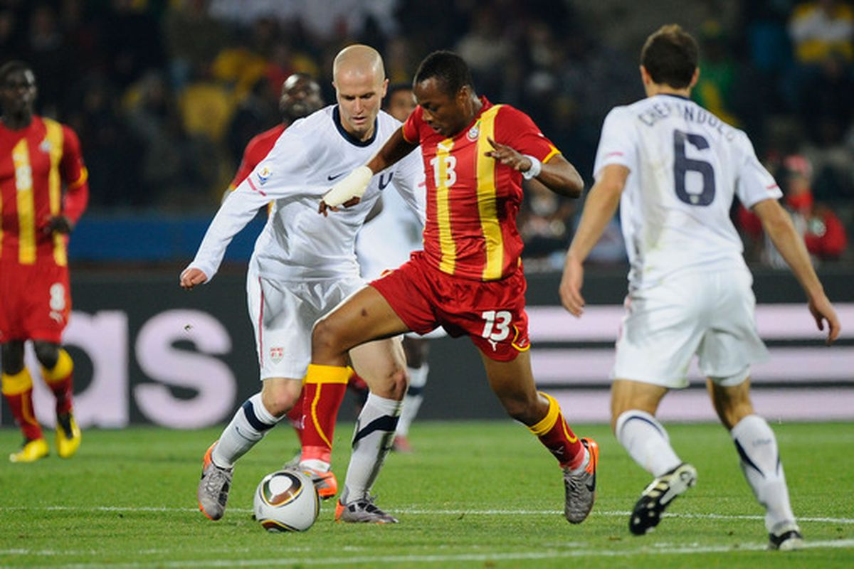 Marseille's Andrew Ayew weaves through the US defence during Ghana's second-round game at the 2010 World Cup.