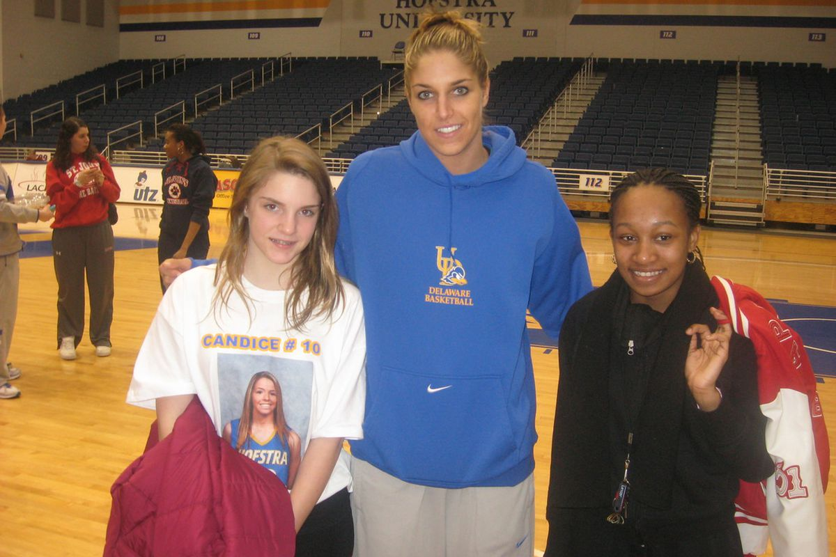 Delaware Blue Hens star Elena Delle Donne is so good that even family members of the opposition (left) she had just dropped 42 points on were eager for a post-game photo opportunity.<em> Photo by Ray Floriani. </em>