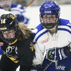 Boston Pride forward Jillian Dempsey and Connecticut Whale defender Amanda Boulier look for the puck after a faceoff.