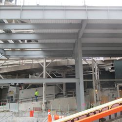A view of the planks used to form the floor of the bleacher patio/walkway level, on the left-field side -