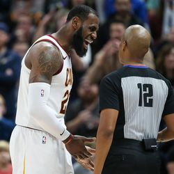 Cleveland Cavaliers forward LeBron James (23) disputes a call with referee Violet Palmer (12) during the game against the Utah Jazz at Vivint Arena in Salt Lake City on Saturday, Dec. 30, 2017.