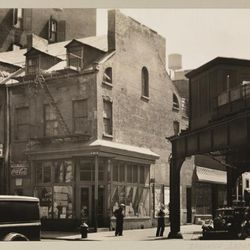 """Pioneer Restaurant, 3rd Street and West Broadway, 1937 bu Berenice Abbott. From the Collections of the Museum of the City of New York. [<a href=""""http://collections.mcny.org/MCNY/C.aspx?VP3=ViewBox&IT=ZoomImageTemplate01_VForm&IID=2F3XC5U0AB9V&"""
