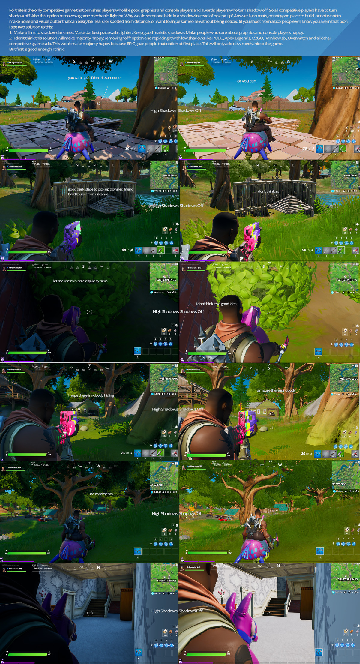 Comparing and contrasting visibility options in Fortnite for PC and consoles.
