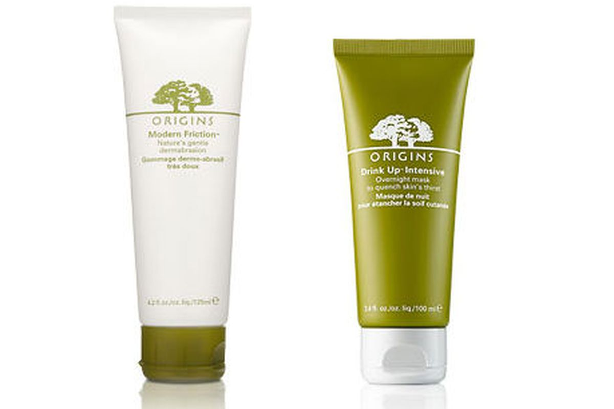 """Origins <a href=""""http://www.origins.com/product/3815/12182/Bath-Body/Daily-Essentials/Body-Scrubs/Modern-Friction-for-the-Body/Natures-gentle-dermabrasion/index.tmpl"""">Modern Friction</a> exfoliator ($36) and <a href=""""http://www.origins.com/product/3"""