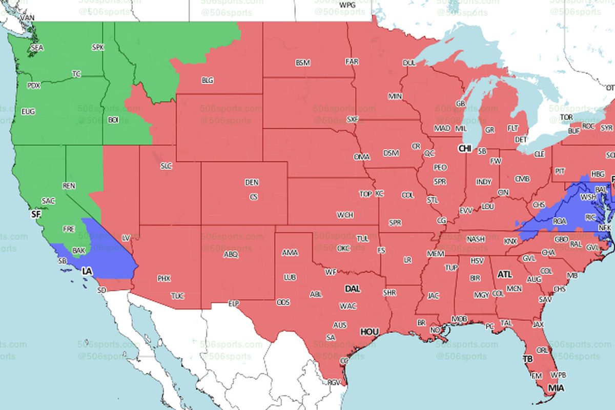 ErsSeahawks TV Schedule Broadcast Maps In The US - Us map states only