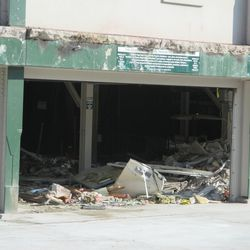 11:04 a.m. Debris inside the front of the ballpark -