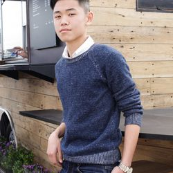 Victorio is wearing a Uniqlo sweater, H&M shirt, and Goodale jeans