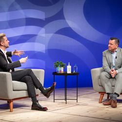 Troy Williams, executive director of Equality Utah, speaks with former House Speaker Greg Hughes during a Utah GOP Governor's Equality Forum in Salt Lake City on Wednesday, May 20, 2020.