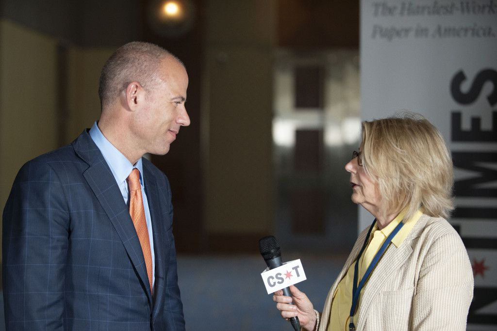 Michael Avenatti, Stormy Daniel's attorney and possible 2020 presidential candidate, speaks with Sun-Times's Lynn Sweet at the Democratic National Committee summer meeting in Chicago on August 23, 2018. | Colin Boyle/Sun-Times