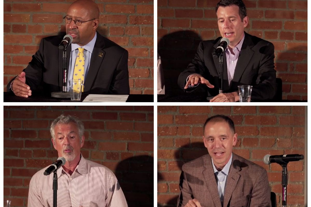 Clockwise from top left: Former Philadelphia Mayor Michael Nutter, Uber adviser David Plouffe, Airbnb policy chief Chris Lehane and political researcher David Binder.
