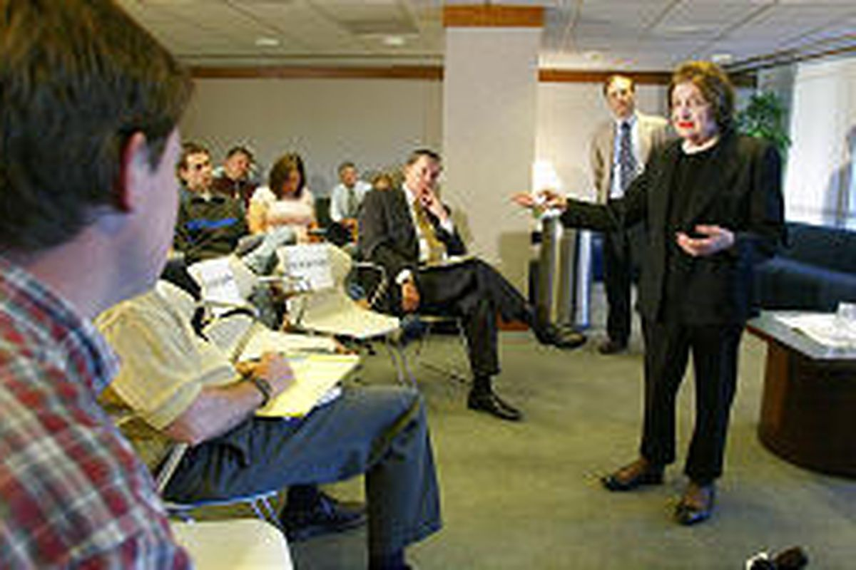 Helen Thomas, liberal former White House journalist, at Y. Tuesday.