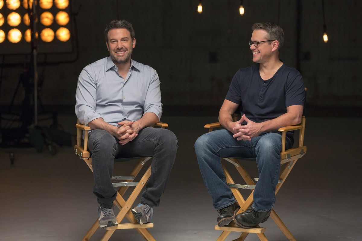 Matt Damon (right) hangs out with his longtime pal Ben Affleck in a  not-at-all-awkward press shoot. HBO