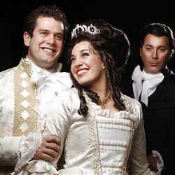 "Kevin Goertzen, Megan Heaps and Brian Clark in Hale Theatre's ""The Scarlet Pimpernel."""