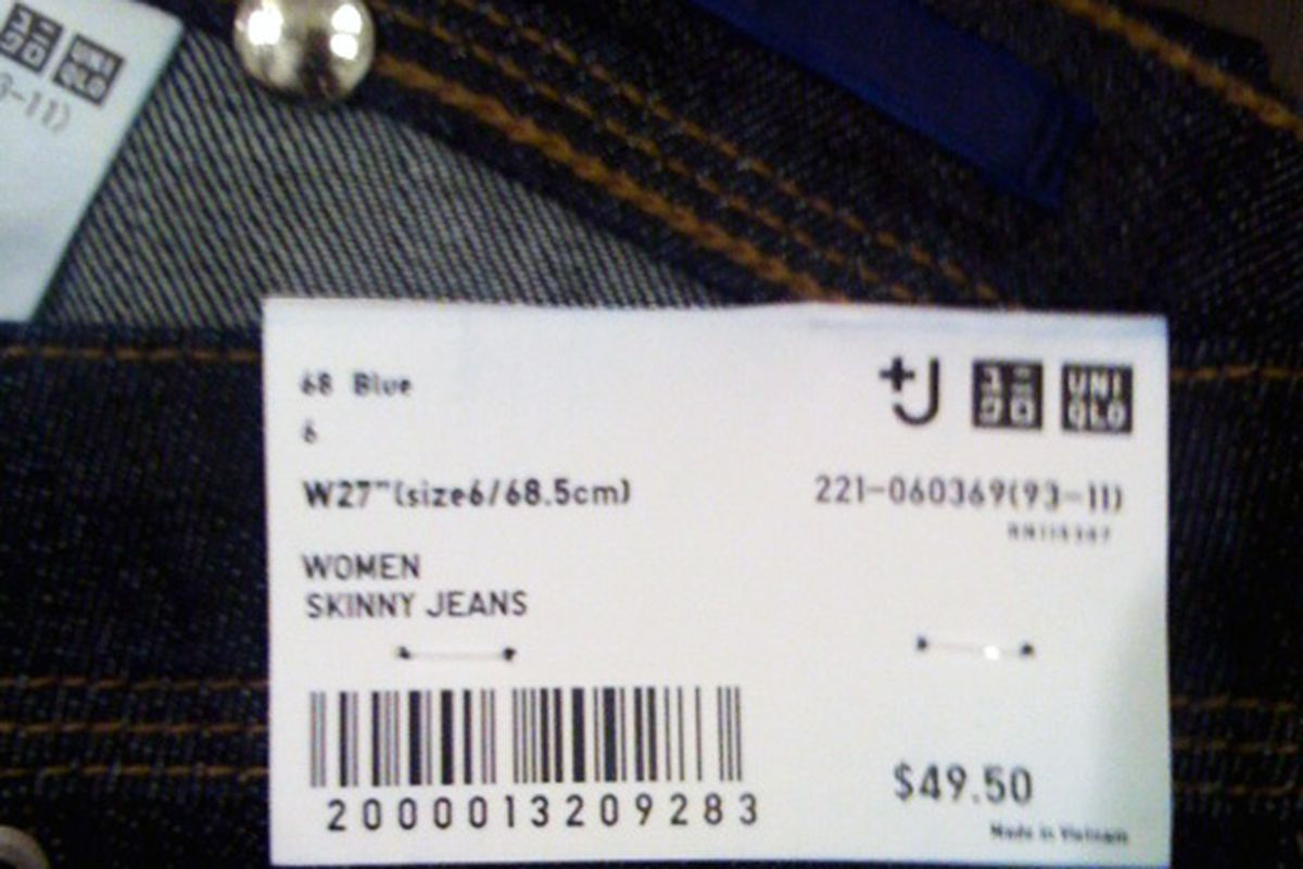 The tag inside a pair of +J jeans