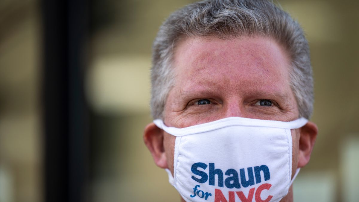 Mayoral candidate Shaun Donovan tours the Nehemiah Housing Development in East New York, March 12, 2021