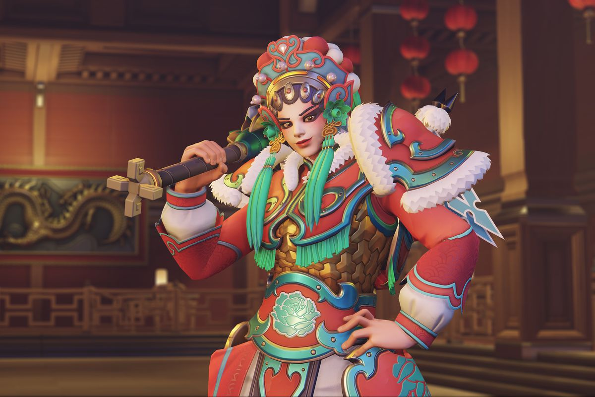 Brigitte wears Chinese opera makeup and dress in a screenshot from Overwatch