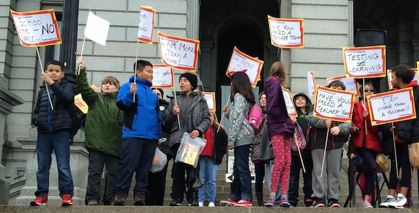 Fifth graders from Denver's Lincoln Elementary School were in the crowd at the anti-testing rally.