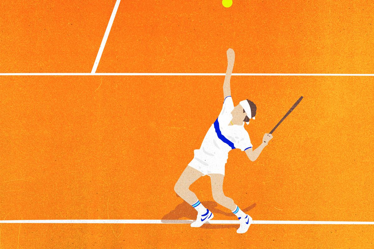 Illustration of John McEnroe serving the tennis ball on a clay court