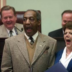FILE - Comedian Bill Cosby laughs it up with Lt. Gov. Olene Walker Wednesday, Jan. 31, 2001.