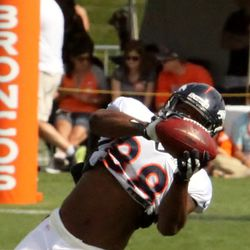 Demaryius Thomas pulls in a pass during training camp