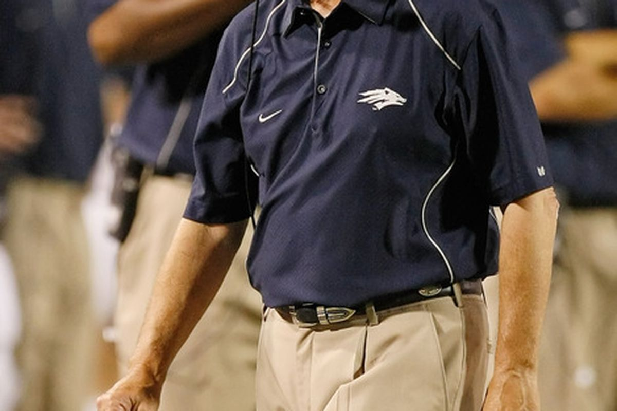 LAS VEGAS - OCTOBER 02:  Nevada Reno Wolf Pack head coach Chris Ault watches his players take on the UNLV Rebels at Sam Boyd Stadium October 2 2010 in Las Vegas Nevada. Nevada Reno won 44-26.  (Photo by Ethan Miller/Getty Images)