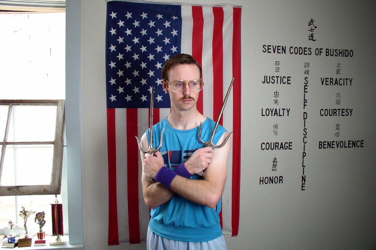 """Aaron Ruell as Kip on set during filming for """"Napoleon Dynamite."""""""