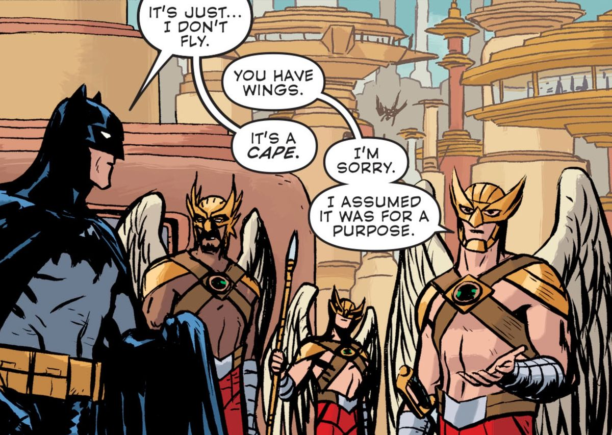 """A winged Thanagarian police officer mistakes Batman's cape for wings. When corrected, he says """"I'm sorry. I assumed it was for a purpose,"""" in Batman Universe #3, DC Comics (2019)."""