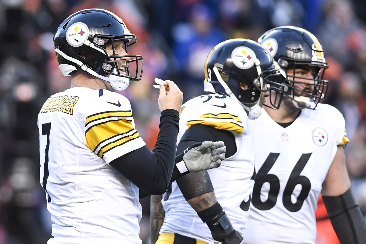 Ben Roethlisberger of the Pittsburgh Steelers reacts to throwing a 97-yard touchdown pass to JuJu Smith-Schuster against the Denver Broncos during the third quarter on Sunday, November 25, 2018. The Denver Broncos hosted the Pittsburgh Steelers.