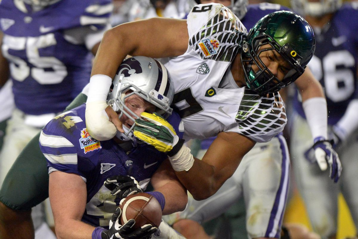 Oregon's defense is ferocious, and doesn't let even egregious facemasking penalties slow them down.