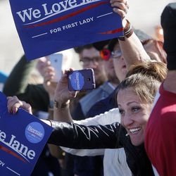 Crowds cheer as Democratic candidate for president Sen. Bernie Sanders of Vermont gives a speech to supporters at This is the Place Heritage Park in Salt Lake City, Friday, March 18, 2016.