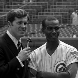 Ernie being interviewed by NBC Sports' Tony Kubek in 1969
