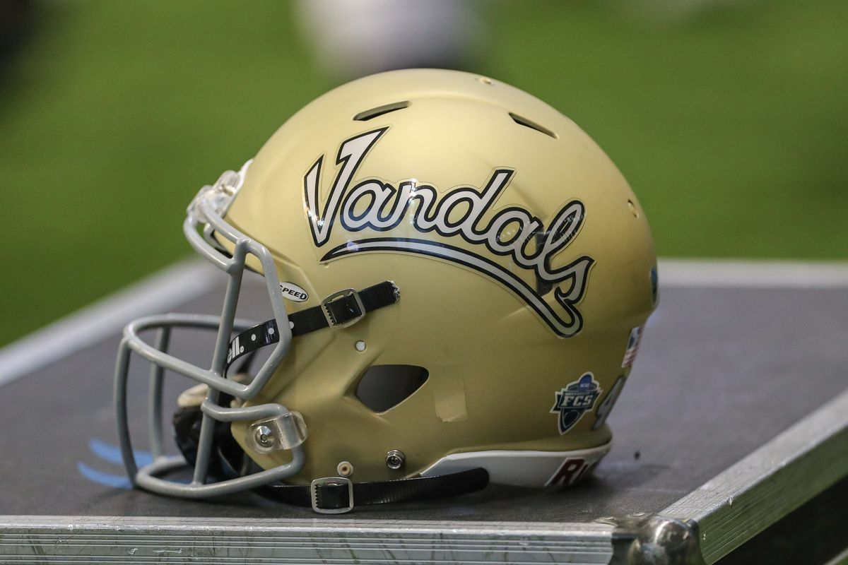An Idaho Vandals helmet is seen during second half action between the Idaho State Bengals and the Idaho Vandals on October 19, 2019 at the ASUI Kibbie Dome in Moscow, Idaho. Idaho won the game 45-21.