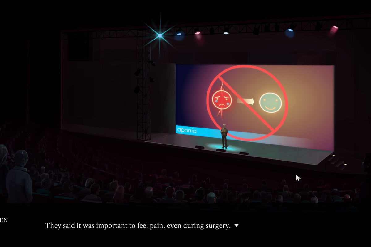 """Eliza - A man stands on stage. The narration reads, """"They used to say it was important to feel pain, even during surgery."""" The stage's screen shows a crying face turning into a happy face, with a red circle and cross over it."""