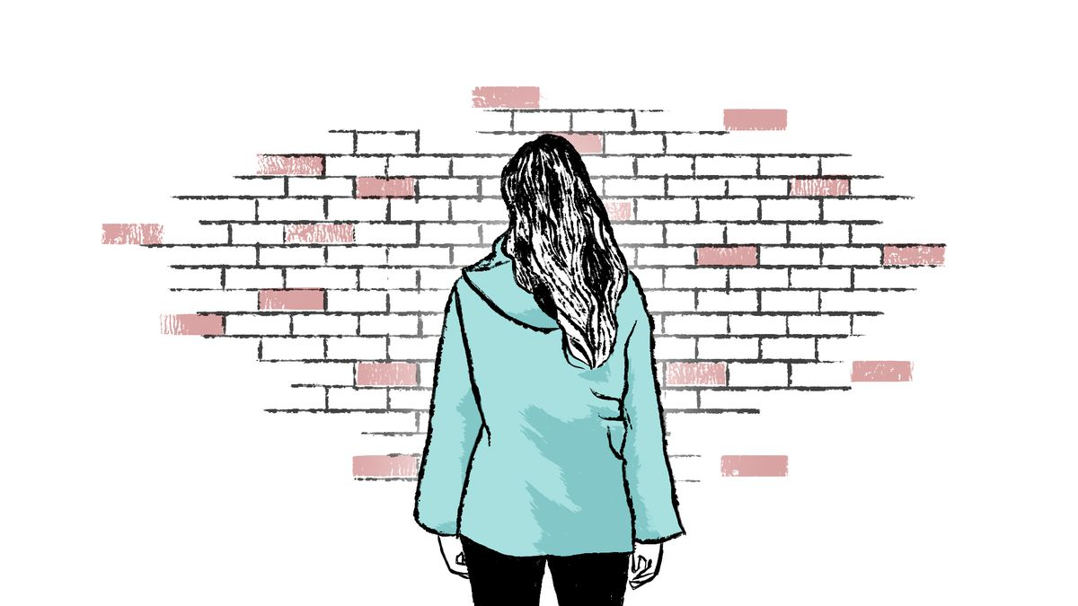 An illustration of a woman standing in front of a brick wall.