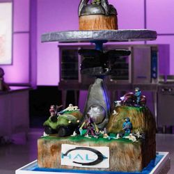"""Tidwell's second cake, a chocolate brownie poundcake, was featured at the 2016 """"Halo"""" world championship."""
