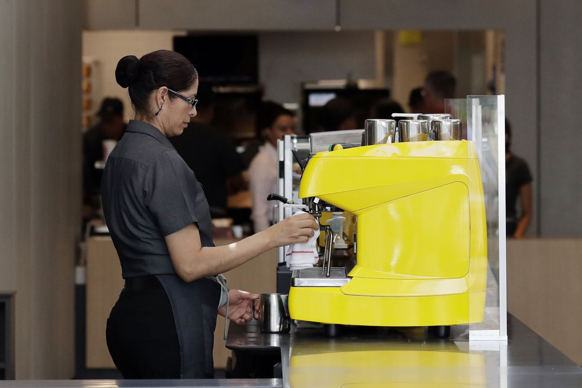 An employee works at a McDonald's restaurant in Chicago.