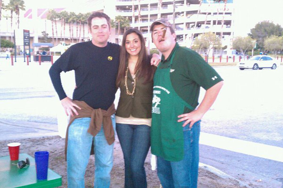 Me, Karla, and Mike tailgating at Ray Jay as soon as they'll let us in the gates. Just the way we like it.