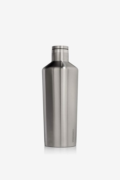 A stainless steel Corkcicle canteen thermos