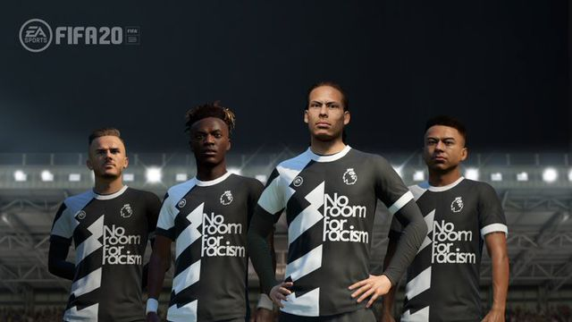 """players model the """"No Room For Racism"""" kits in FIFA 20"""