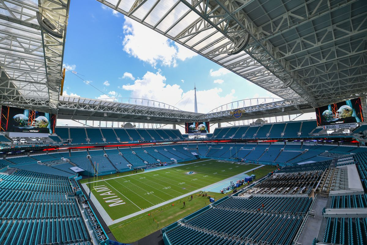 Pre-game look at Hard Rock Stadium in Miami, Florida before the Week 3 matchup between the Oakland Raiders and Miami Dolphins.