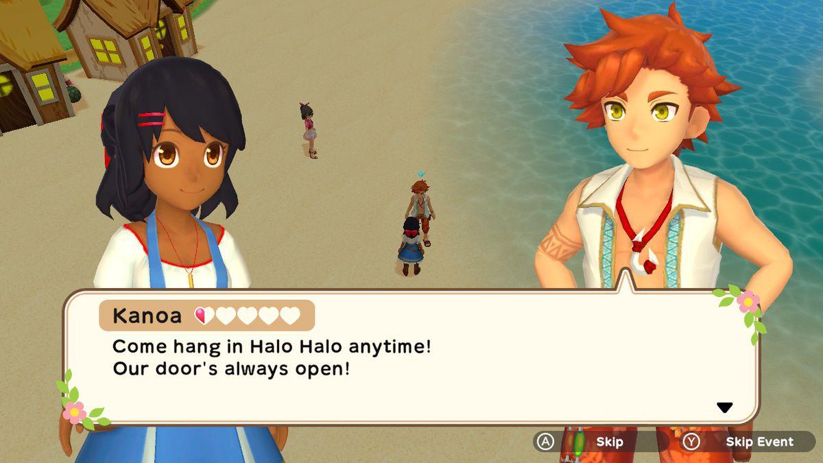 A female farmer talks to Kanoa, a red-haired man, on the beach