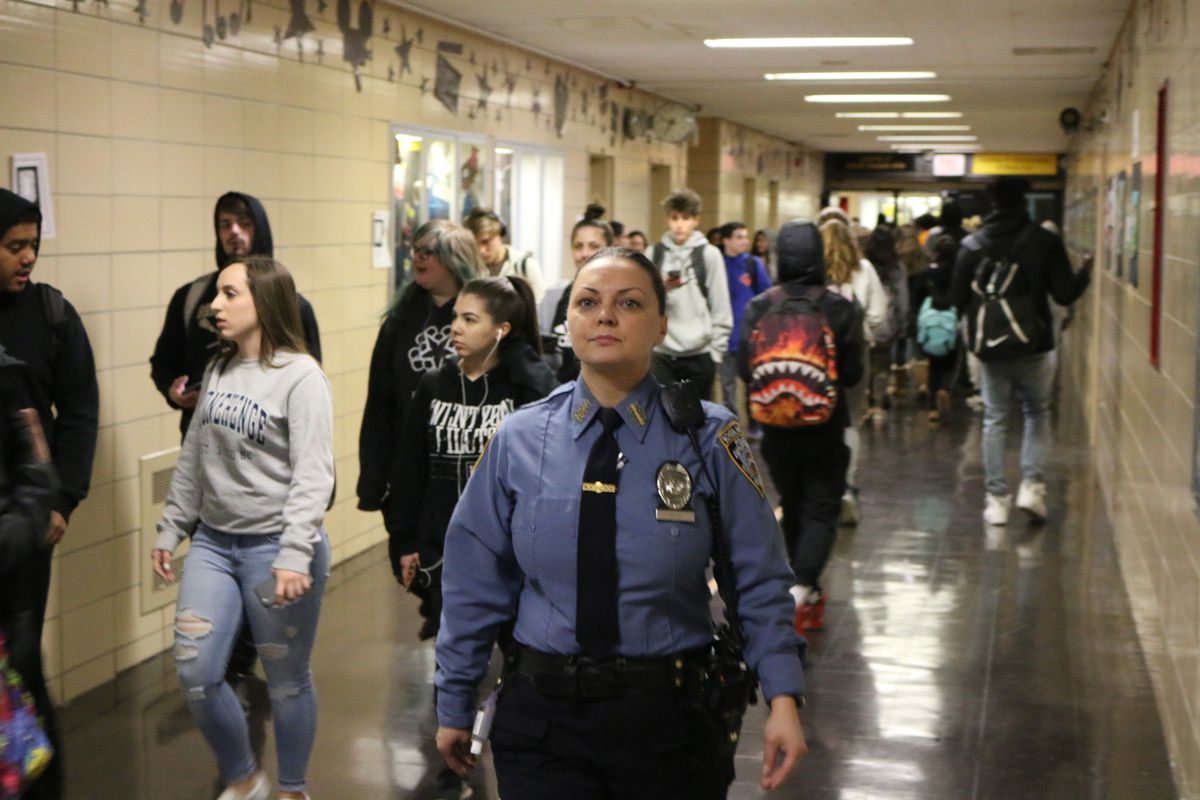 A school safety agent at Staten Island's New Dorp High School.