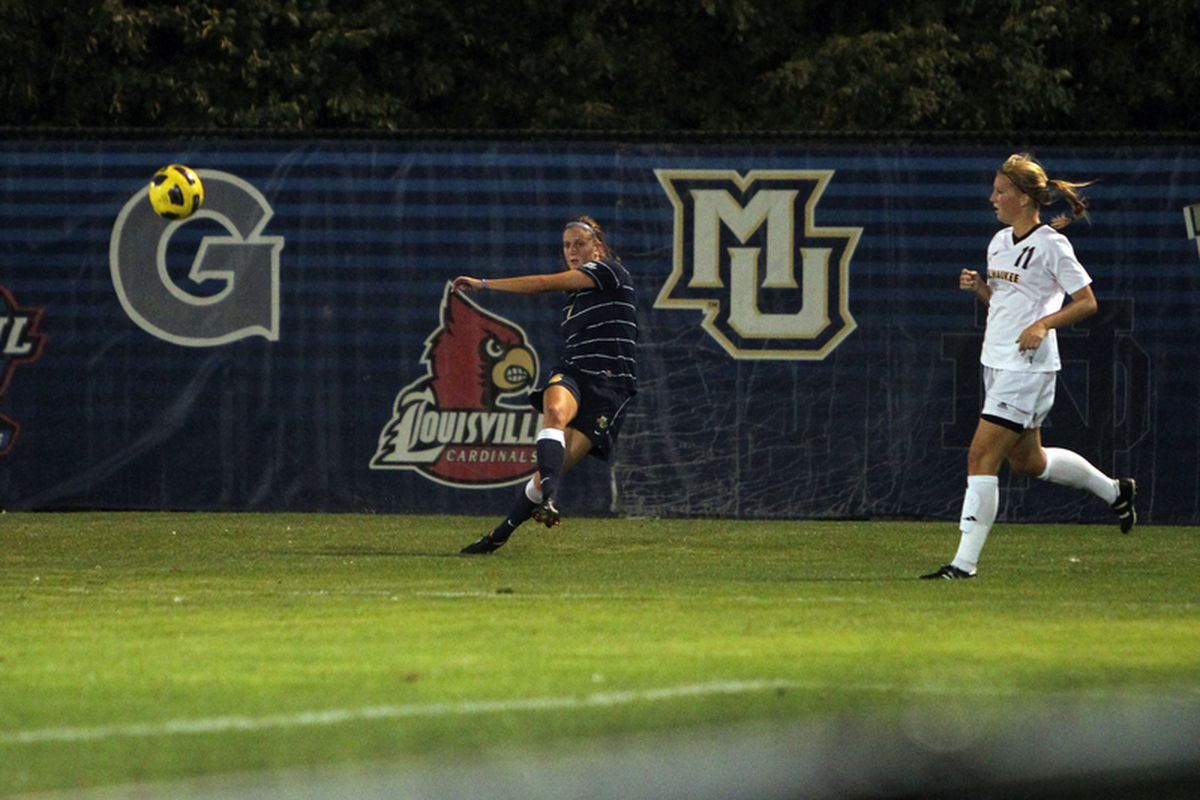 Ashley Stemmeler got Marquette on the board against Pitt with her first goal of the season. (via Maggie Casey/MarquetteImages.com)