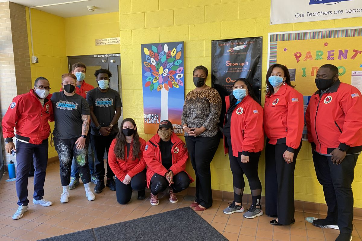 City Year Chicago's AmeriCorps members installed a mural at Randolph Elementary School Thursday morning, May 13, 2021.